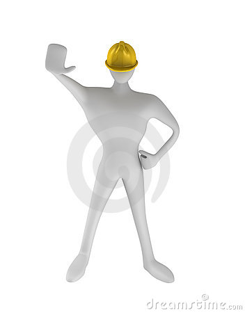 Construction worker with stop gesture
