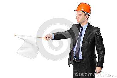 Construction worker waving a white flag
