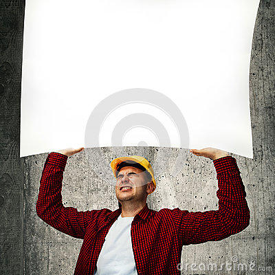 Construction worker with whiteboard