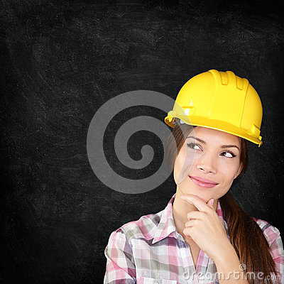 Free Construction Worker Woman On Chalkboard Texture Stock Photos - 32702603
