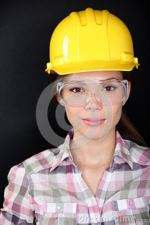 Free Construction Worker Woman With Glasses And Hardhat Stock Photos - 32394443