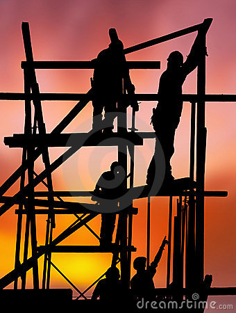 Free Construction Workers Against Colorful Sunset Royalty Free Stock Image - 19278786