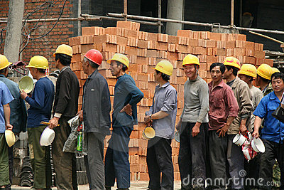 Construction Workers in Beijing Editorial Stock Photo
