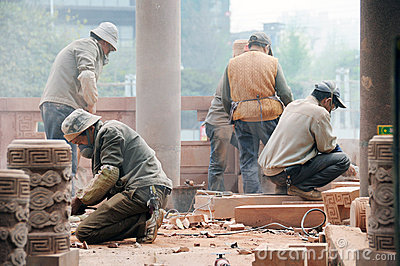 Construction workers in Chengdu Editorial Image