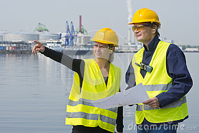 Construction workers in harbor