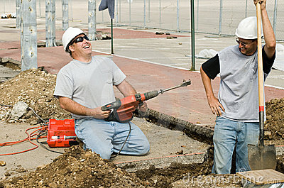 Construction Workers Laughing