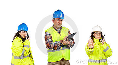 Construction workers talking with a walkie talkie