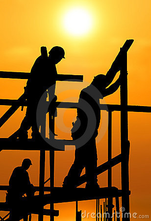 Free Construction Workers Under A Hot Blazing Sun Stock Image - 19267591