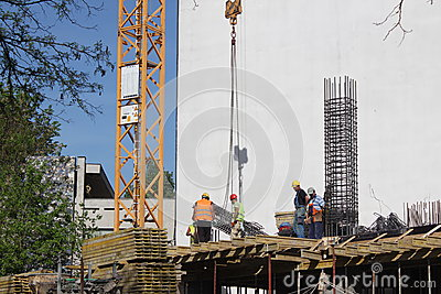 Construction workers Editorial Stock Photo