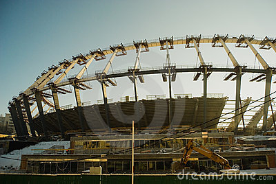 Construction works of Euro 2012 stadium in Kiev Editorial Photography