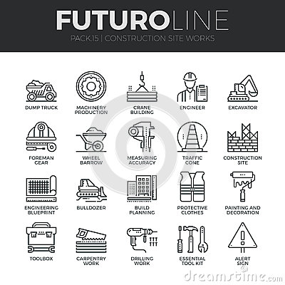 Free Construction Works Futuro Line Icons Set Stock Photo - 62806550