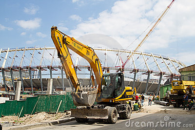 Construction works of Kyiv s Olympic stadium Editorial Stock Photo