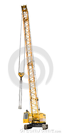Free Construction Yellow Crawler Crane Isolated Stock Photos - 47907683