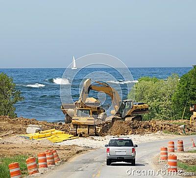 Free Construction Zone Lake Michigan Dunes Stock Photos - 5583503