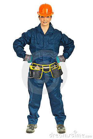 Constructor worker woman with attitude