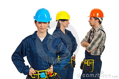 Constructor worker woman and her team