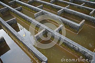 Construção da filtragem da água da drenagem