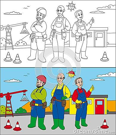 Construtores do canteiro de obras