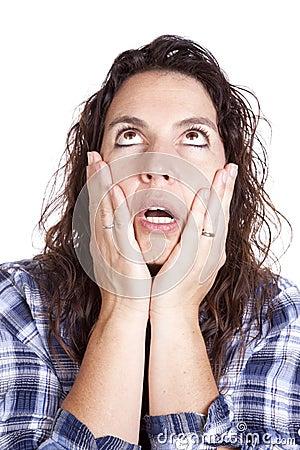 Consulta azul da face das mãos da expressão da mulher
