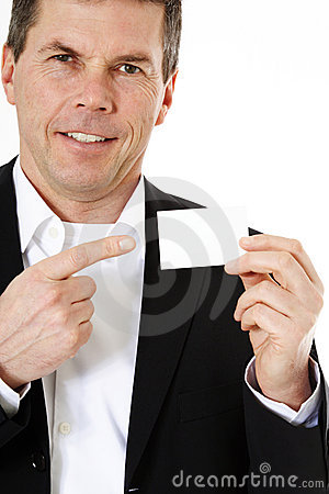 Consultant pointing at blank business card