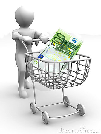 Consumer basket and euro. 3d