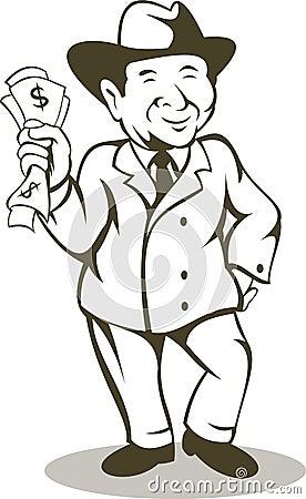 Conta de dólar do dinheiro do homem de negócios