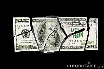Conta de dólar 100 rasgada