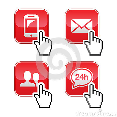 Contact buttons set with cursor hand icon
