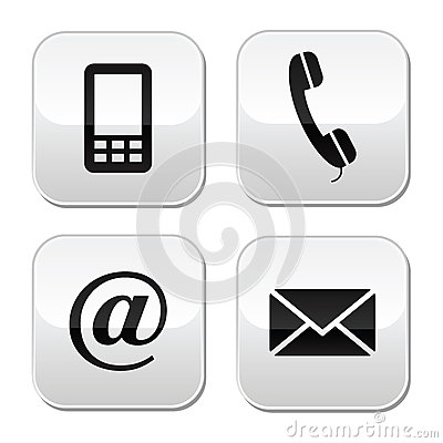 Free Contact Buttons Set - Email, Envelope, Phone, Mobi Stock Photo - 25491570