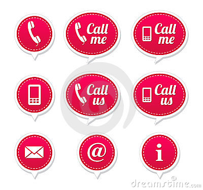 Contact buttons - set of retro speech bubbles