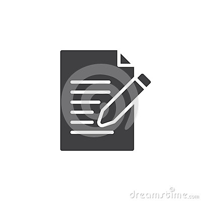 Contact form icon vector, Write, edit filled flat sign Vector Illustration