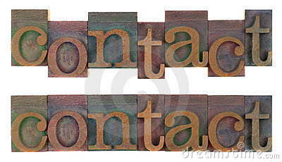 Contact - old wooden letterpress type