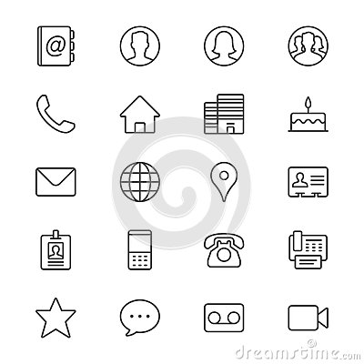Free Contact Thin Icons Royalty Free Stock Image - 49218246