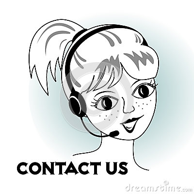 Contact us - cartoon girl with headset