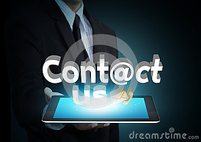 Contact us 3D text on touch screen tablet technology