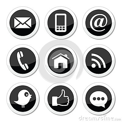 Free Contact, Web, Blog And Social Media Round Icons - Twitter, Facebook, Rss Royalty Free Stock Photography - 31040227