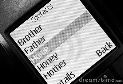 Contacts list in phone