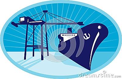 Container Boom Crane Loading Ship Boat