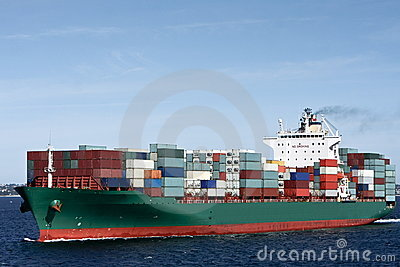 Container cargo ship at sea
