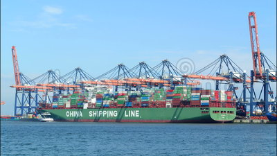 Container cargo ships. In port loaded with containers time lapse stock footage