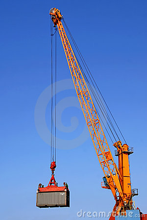 Free Container Crane At Work Stock Image - 9088151