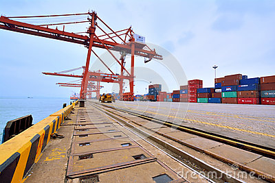 Container dock in Xiamen, Fujian, China Editorial Photo