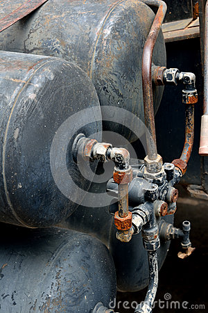 Container of gas with pipe set in equipment