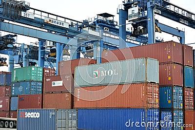 Container goods yard at Xiamen, Fujian, China Editorial Photography
