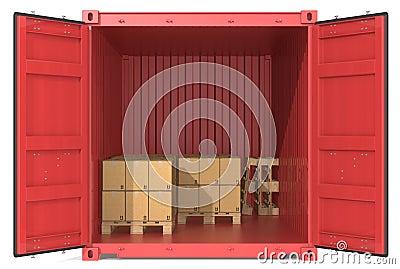 Container met goederen.