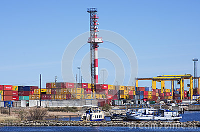 Container operation in port. Editorial Photo