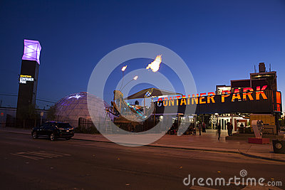 Container Park in Las Vegas, NV on December 10, 2013 Editorial Stock Photo