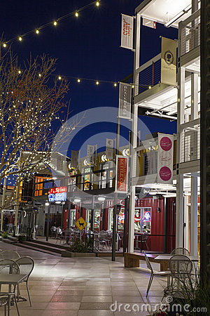 Container Park at Night in Las Vegas, NV on December 10, 2013 Editorial Photo