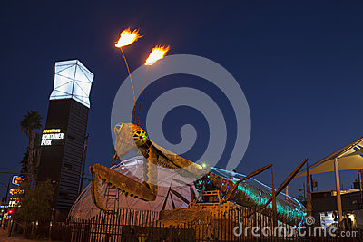 Container Park Praying Mantis in Las Vegas, NV on December 10, 2 Editorial Stock Image