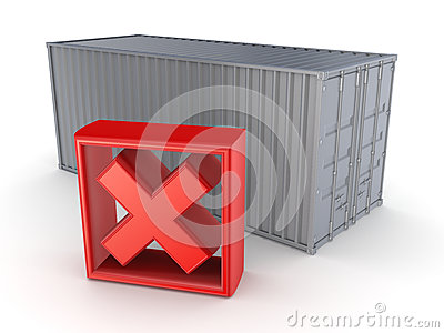 Container and red cross mark.